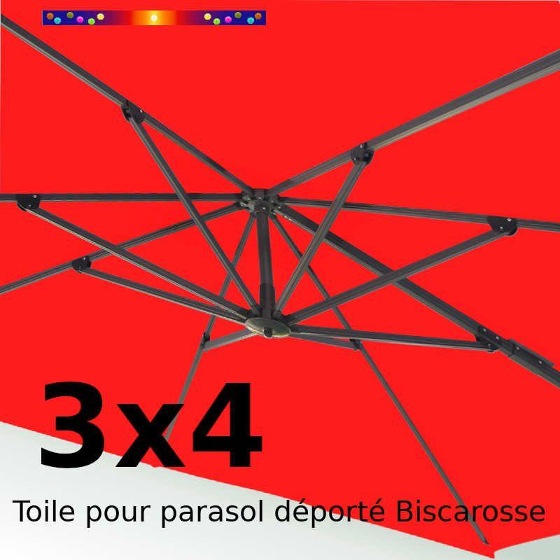 Toile 3x4 Rouge Coquelicot (Rectangle) pour Parasol Déporté