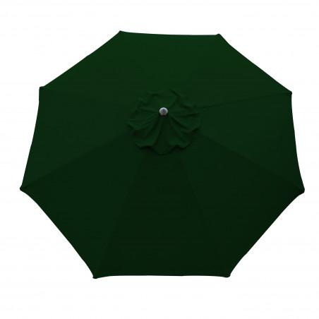 Parasol Lacanau rond (octogonal) Diamètre 300 cm en Aluminium à manœuvre par manivelle toile Vert Pinède : parasol vu de dessus
