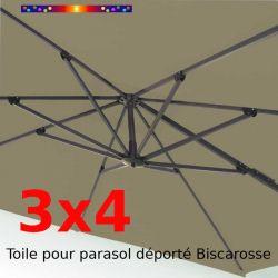 Toile 3x4 Taupe (Rectangle) pour Parasol Déporté Biscarrosse