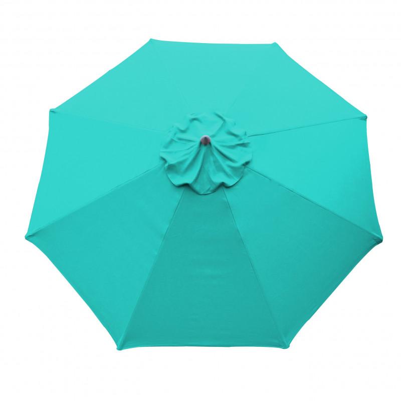Parasol Lacanau rond (octogonal) Diamètre 300 cm en Aluminium manœuvre par manivelle toile Bleu Turquoise : parasol vu de dessus