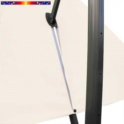 Toile Écru Nature 3x4 pour Parasol déporté Biscarrosse Blanc Écru : vue du zip de la toile  pour mise en place sur le mât