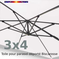 Toile Écrue Nature Rectangle 3x4 pour Parasol Déporté Biscarrosse