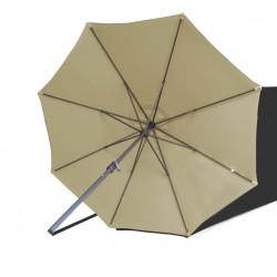 Parasol Lacanau rond (octogonal) Diamètre 300 cm en Aluminium à manœuvre par manivelle toile Sable Greige: parasol vu de dessous