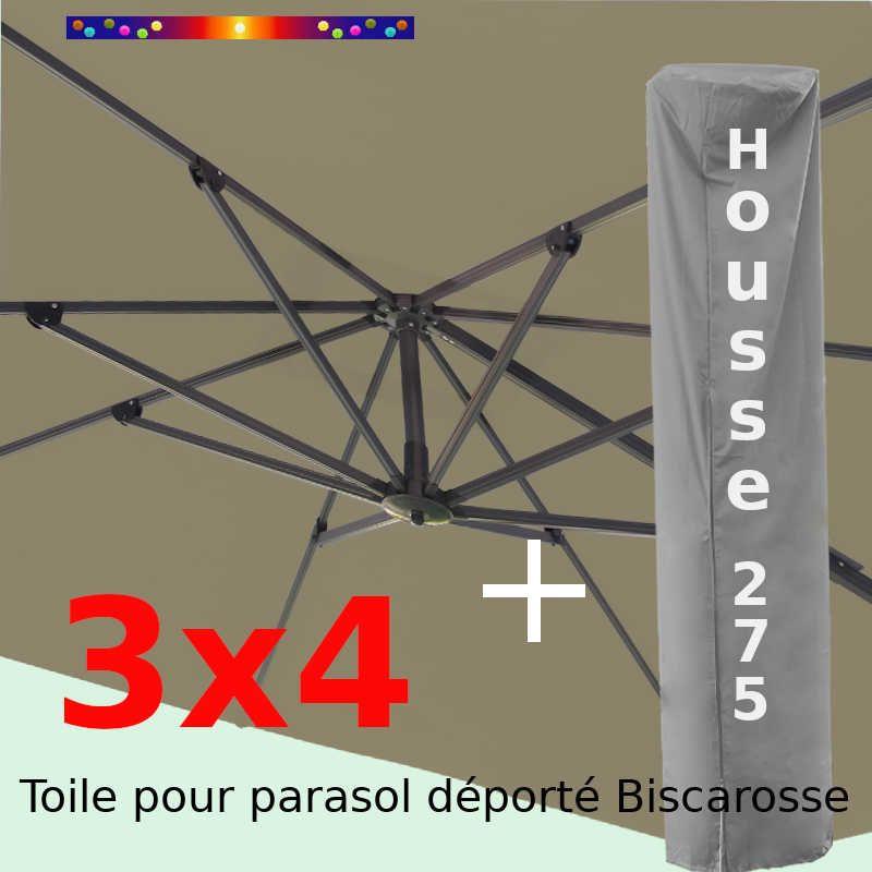 [ Pack ] Toile Taupe pour parasol Déporté 3x4 + Housse 275x75-150