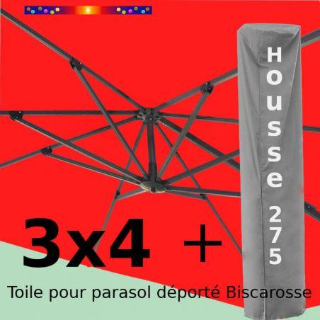 [ Pack ] Toile Rouge Coquelicot pour parasol Déporté 3x4 + Housse 275x75-150