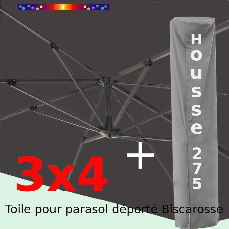 [ Pack ] Toile Grise pour parasol Déporté 3x4 + Housse 275x75-150