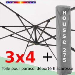 [ Pack ] Toile Ecru Nature pour parasol Déporté 3x4 + Housse 275x75-150