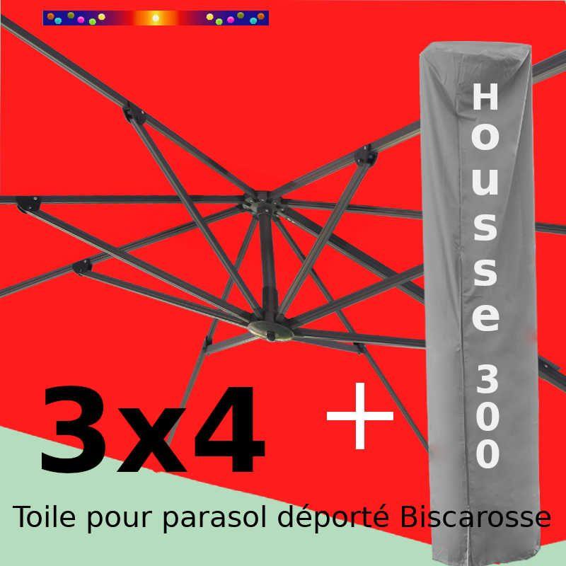 [ Pack ] Toile Rouge Coquelicot pour parasol Déporté 3x4 + Housse 300x58-116