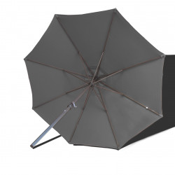 Parasol Lacanau rond (octogonal) Diamètre 300 cm en Aluminium à manœuvre par manivelle toile Gris Souris : parasol vu de dessous