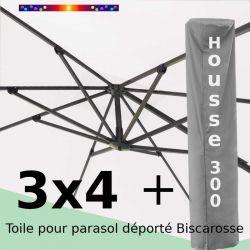 [ Pack ] Toile Ecru Nature pour parasol Déporté 3x4 + Housse 300x58-116