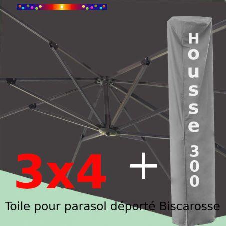 [ Pack ] Toile Grise pour parasol Déporté 3x4 + Housse 300x58-116