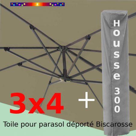 [ Pack ] Toile Taupe pour parasol Déporté 3x4 + Housse 300x58-116