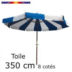 Toile OCTOGONALE (8cotés) 350cm Rayon Bleu (mât central) : vu de face
