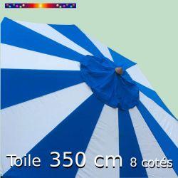 Toile OCTOGONALE (8cotés) 350cm Rayon Bleu (mât central) : vu de dessus