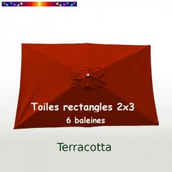 Toile 3° choix : Toile pour parasol rectangle 2x3 Terracotta