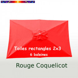 Toile en second choix : pour parasol rectangle 2x3 couleur Coquelicot