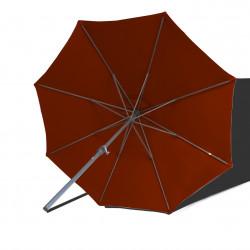 Parasol Lacanau rond (octogonal) Diamètre 300 cm en Aluminium à manœuvre manivelle toile Rouge Terracotta: parasol vu de dessous
