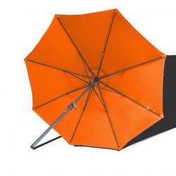 Parasol Lacanau rond (octogonal) Diamètre 300 cm en Aluminium à manœuvre par manivelle toile Orange : parasol vu de dessous