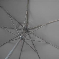 Parasol Lacanau rond (octogonal) Diamètre 300 cm en Aluminium à manœuvre par manivelle toile Gris Souris : détail de l'armature