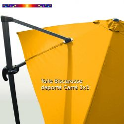 Toile Tournesol CARREE 3x3 pour Parasol Déporté Biscarrosse : détail de la toile sur le mât de déport