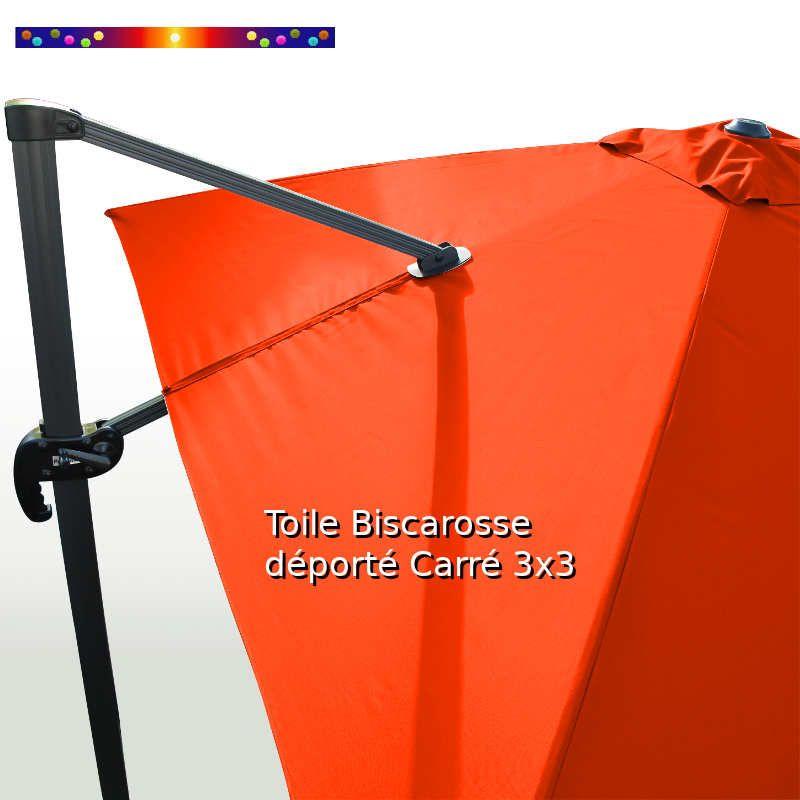 Toile Orange Capucine CARREE 3x3 pour Parasol Déporté Biscarrosse  : détail de la toile sur le mât de déport