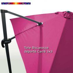 Toile Rose Fushia CARREE 3x3 pour Parasol Déporté Biscarrosse