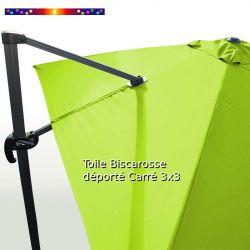 Toile Vert Lime CARREE 3x3 pour Parasol Déporté Biscarrosse : vue arrière du mât et de la toile sur l'armature