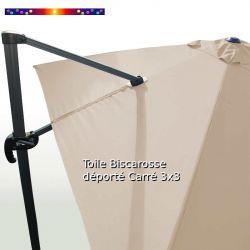 Toile Soie Grège CARREE 3x3 pour Parasol Déporté Biscarrosse : vue arrière du mât et de la toile sur l'armature