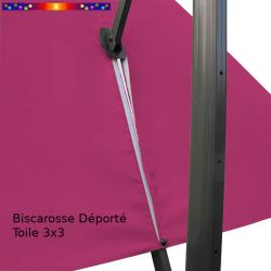 Toile de remplacement 3x3 pour Parasol Excentré Rose Fushia : vue du zip de la toile pour mise en place sur le mât