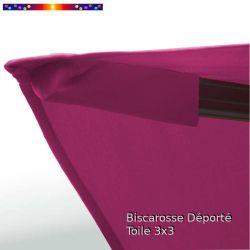 Toile Rose Fushia CARREE 3x3 pour Parasol Déporté Biscarrosse : détail du fourreau de fixation de la toile sur la baleine