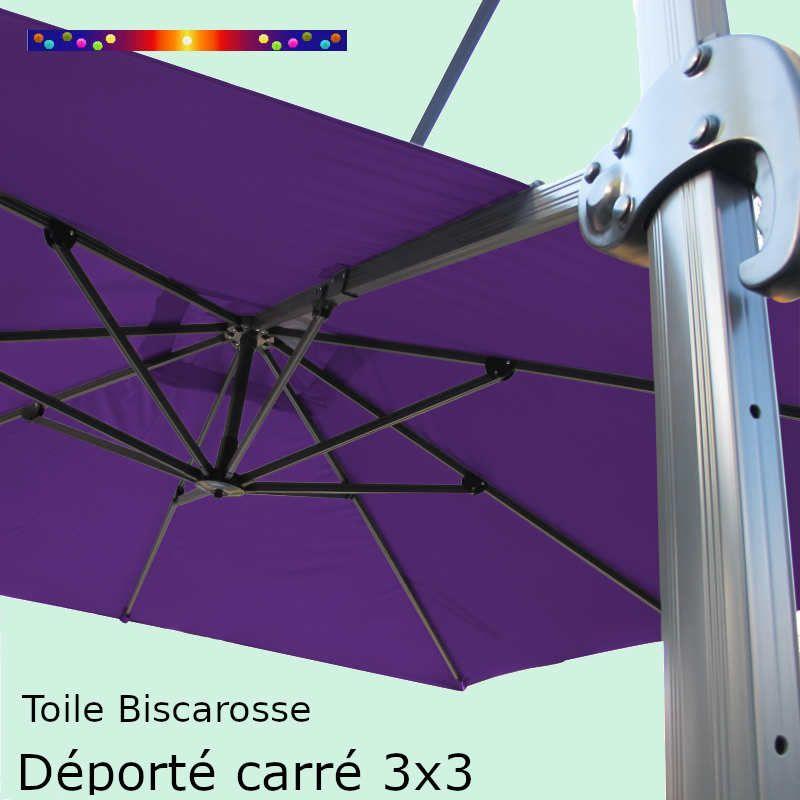 Toile Violette CARREE 3x3 pour Parasol Déporté Biscarrosse