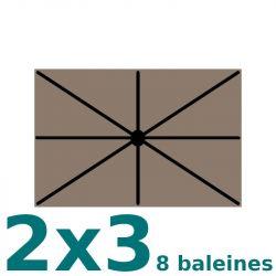 Toile de remplacement pour parasol rectangle 2x3 (8 baleines) Taupe : position des 8 baleines