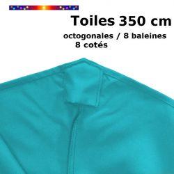 Toile OCTOGONALE (8cotés) 350cm Bleu Turquoise (mât central) : détail du fourreau de fixation en bout de baleine