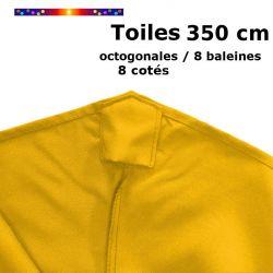 Toile OCTOGONALE (8cotés) 350cm Tournesol (mât central) : vue de dessus
