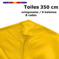 Toile OCTOGONALE (8cotés) 350cm Jaune Bouton d'Or (mât central) : vue de dessus