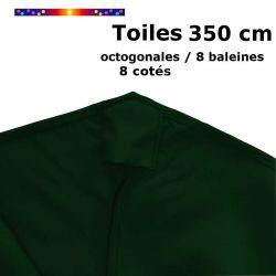 Toile OCTOGONALE (8cotés) 350cm Vert Pinède (mât central) : détail du fourreau de fixation en bout de baleine