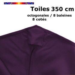 Toile OCTOGONALE (8cotés) 350cm Aubergine (mât central) : détail du fourreau de fixation en bout de baleine