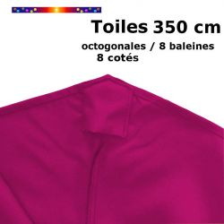 Toile OCTOGONALE (8cotés) 350cm Rose Fushia (mât central) : détail du fourreau de fixation en bout de baleine