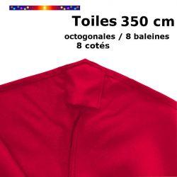 Toile OCTOGONALE (8cotés) 350cm Rouge Coquelicot (mât central) : détail du fourreau de fixation en bout de baleine
