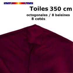 Toile OCTOGONALE (8cotés) 350cm Rouge Bordeaux (mât central) : détail du fourreau de fixation en bout de baleine