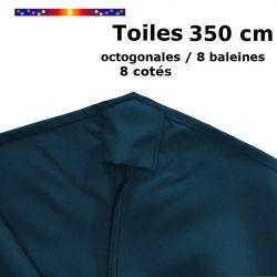 Toile OCTOGONALE (8cotés) 350cm Bleu Océan (mât central) : détail du fourreau de fixation en bout de baleine