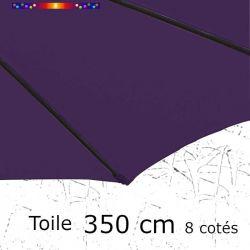 Toile OCTOGONALE (8cotés) 350cm Aubergine (mât central) : toile coté baleine
