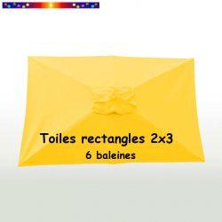 Toile de remplacement pour parasol rectangle 2x3 Jaune Bouton d'Or