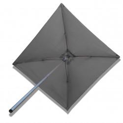 Parasol Lacanau Gris Souris 2x2 Alu : vu de dessous