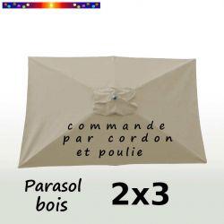 Parasol Lacanau Soie Grège 2x3 Bois : vu de dessus