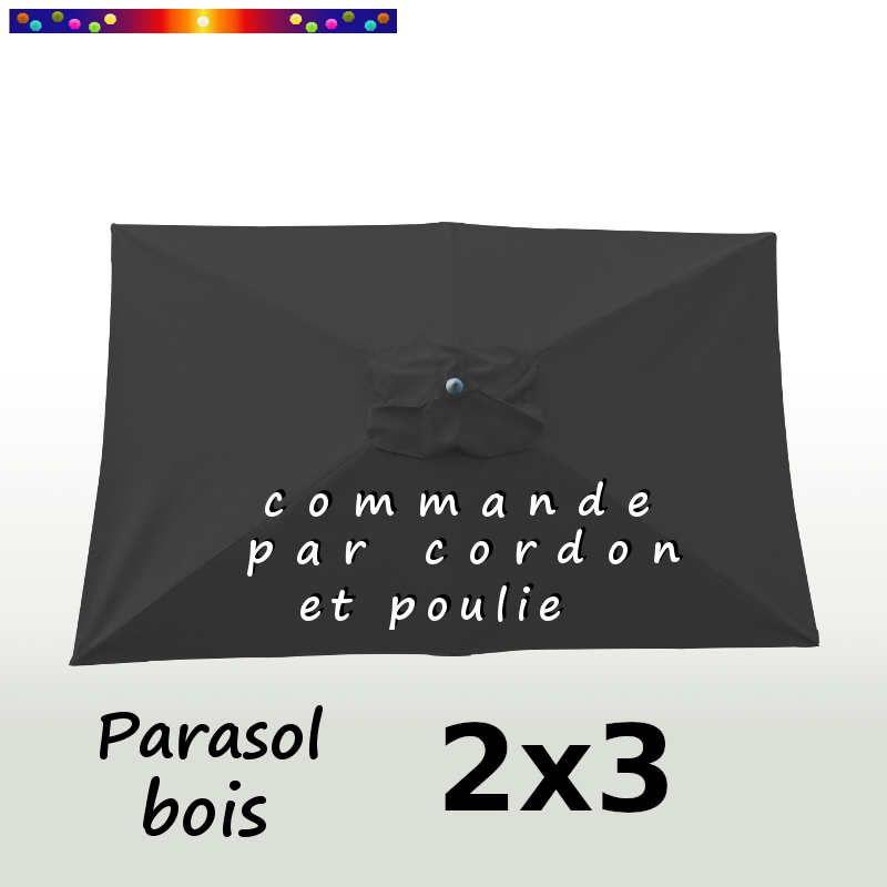 Parasol Lacanau Gris Souris 2x3 Bois : vu de dessus