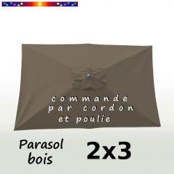 Parasol Lacanau Gris Taupe 2x3 Bois : vu de dessus