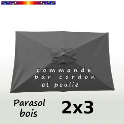 Parasol Lacanau Gris Flanelle 2x3 Bois : vu de dessus