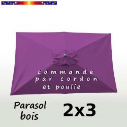 Parasol Lacanau Violette 2x3 Bois : vu de dessus