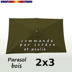 Parasol Lacanau Vert Olive 2x3 Bois : vu de dessus